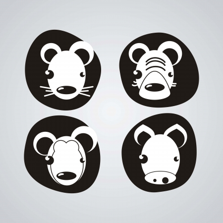 Animal Icons, faces silhouettes black and white Stock Vector - 16287458