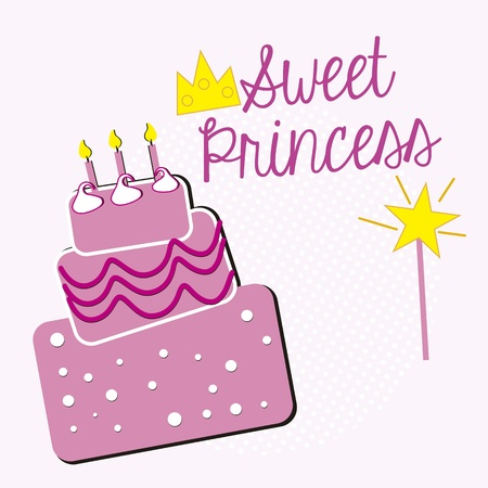 sweet princess, birthday cake Vector