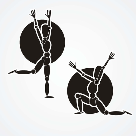 physical therapy: fitness icons, yoga silhouettes black and white