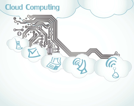 Cloud Computing icons circuit boart Stock Vector - 16287517