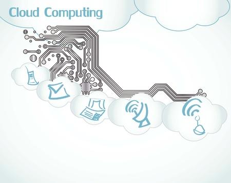 Cloud Computing icons circuit boart Stock Vector - 16287517