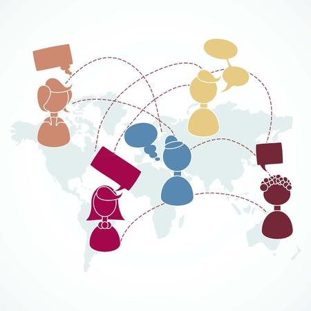 people communicating: People communicating through the world Illustration