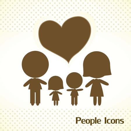 Siluetas de familias, amor y cuidado Vector