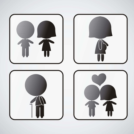 People Icons set of signals Vector