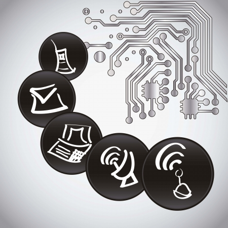 Computing icons and circuit boart Stock Vector - 16399109