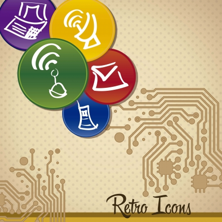 Computing Icons vintage background Stock Vector - 16399111