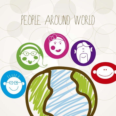 People Around the world, colorful faces Stock Vector - 16399110