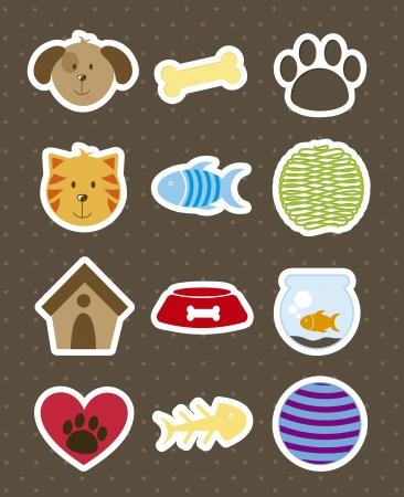 pet fish: Icone di animali su sfondo marrone. illustrazione vettoriale