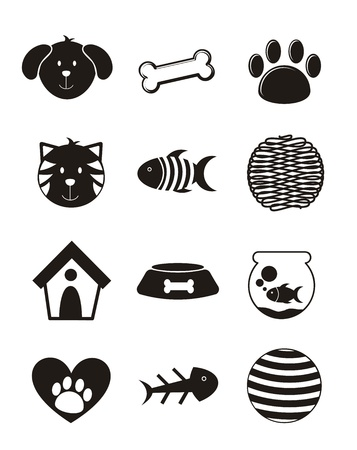 pets icons over white background. vector illustration Stock Vector - 16399167