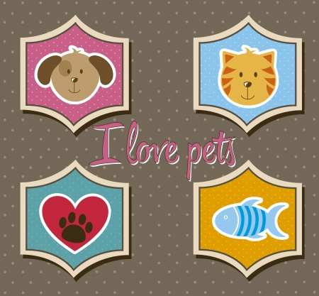 pets icons over brown background. vector illustration Stock Vector - 16404607