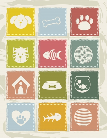 pets icons over grunge background. vector illustration Vector