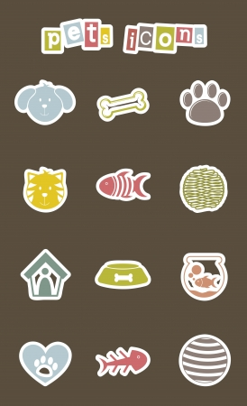 pets icons over brown background. vector illustration Stock Vector - 16404552