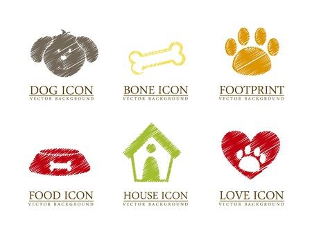 Haustiere Symbole auf weißem Hintergrund. Vektor-Illustration