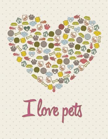 pet shop: pets icons over beige background. vector illustration