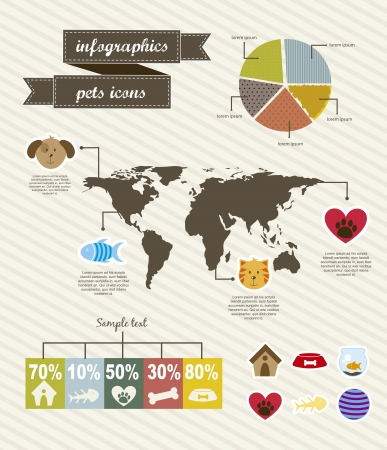 pets icons over beige background. vector illustration Vector