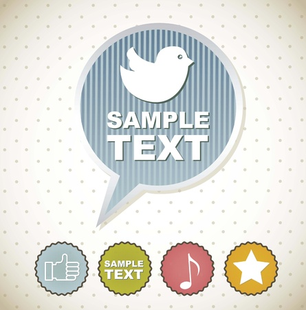 bird icons over balloon text with labels. vector illustration Vector