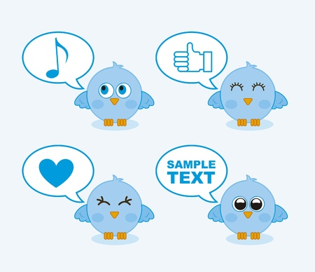 blue birds with balloons text over blue background. vector illustration Stock Vector - 16404563