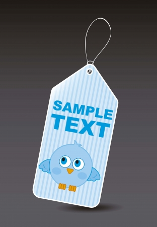 blue bird over label over black background. vector illustration Stock Vector - 16404567