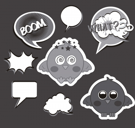gray bird with balloons text over gray background. vector illustration Stock Vector - 16404568