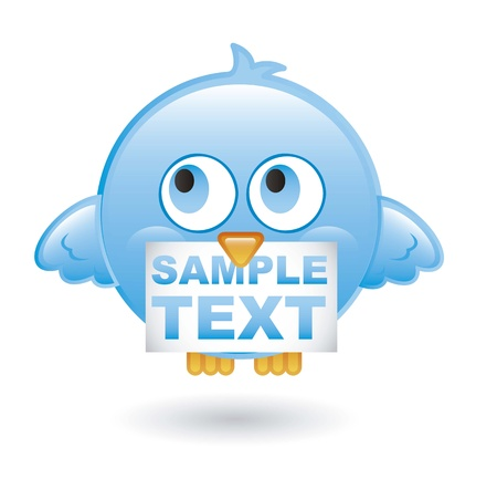 blue bird with message over white background. vector illustration Stock Vector - 16404558