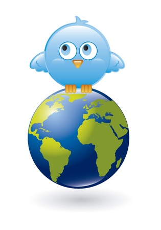 blue bird with planet over white background. vector illustration Stock Vector - 16404574