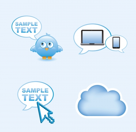 communication icons over blue background. vector illustration Stock Vector - 16404604