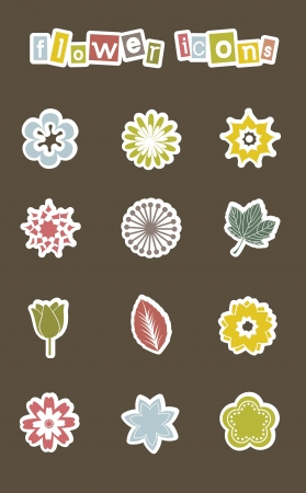flowers icons over brown background. vector illustration Vector