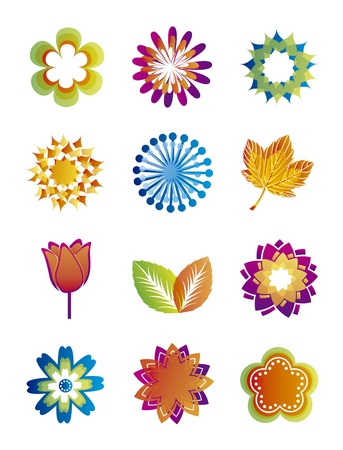colorful flowers icons over white background. vector illustration Stock Vector - 16404605