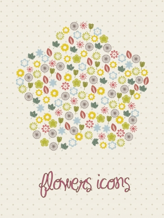 flowers icons over beige background. vector illustration Stock Vector - 16404595