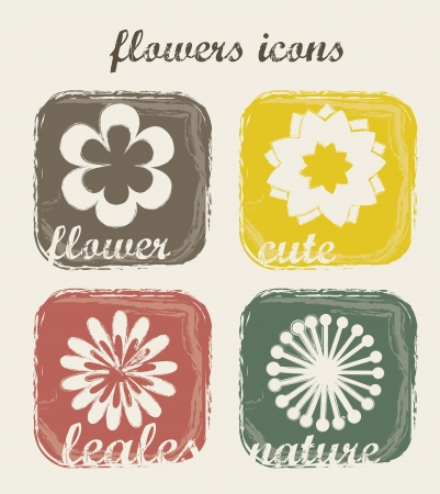 flowers icons over beige background. vector illustration Stock Vector - 16404625