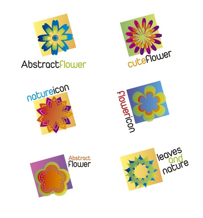 colorful flowers icons over white background. vector illustration Stock Vector - 16404603