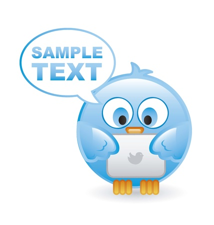 bird with tablet computer over  white background. Stock Vector - 16399139