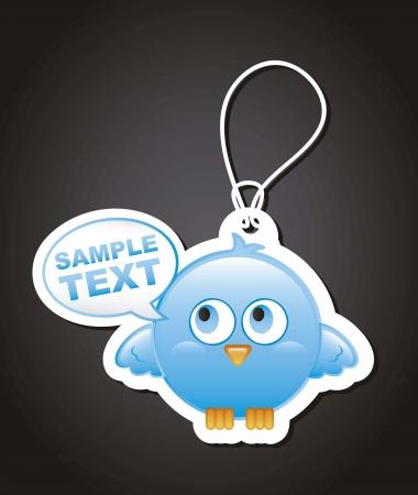 blue bird with balloons text over black background. vector Stock Vector - 16399169