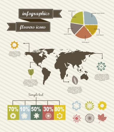 infographics flowers icons over beige background. vector Stock Vector - 16404590