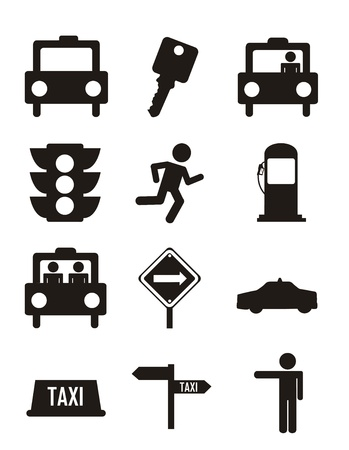 transported: taxi icons over white background. vector illustration Illustration