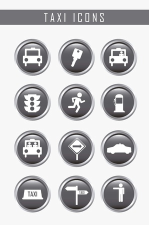 transported: taxi icons over gray background. vector illustration Illustration