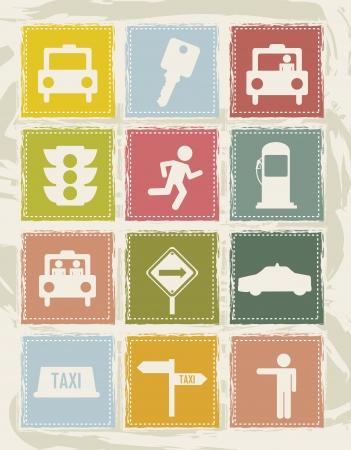 transported: taxi icons over grunge background. vector illustration Illustration