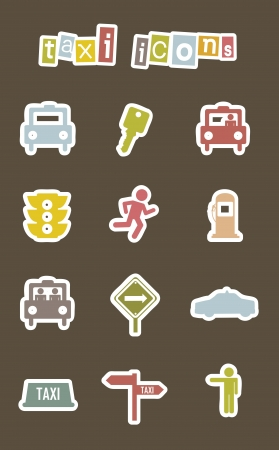 transported: taxi icons over brown background. vector illustration