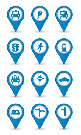 transported: taxi icons over white background.