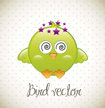 green bird over vintage background. vector illustration Vector