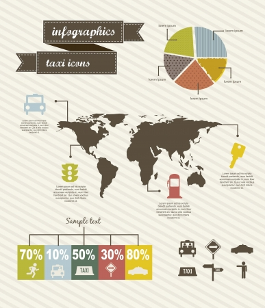 transported: infographics of taxi icons over beige background. vector
