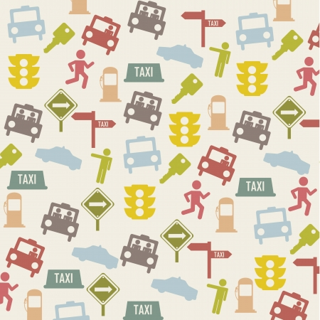 transported: taxi icons over beige background. vector illustration