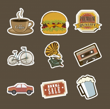 vintage icons over brown background. vector illustration Vector