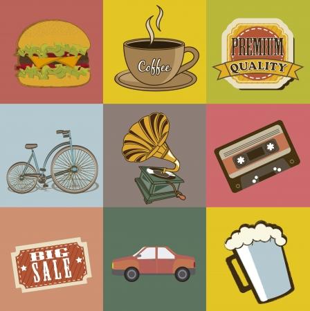 vintage icons over vintage background. vector illustration Vector