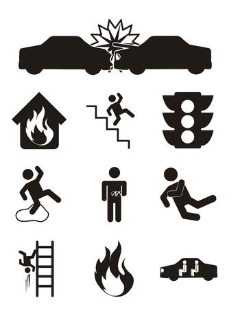 descuidado: Ícones de acidentes sobre o fundo branco. ilustração vetorial