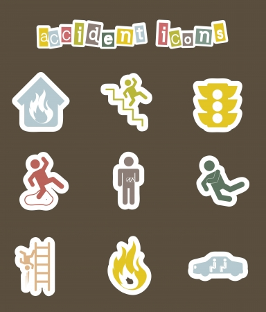 accident icons over brown background. vector illustration Vector