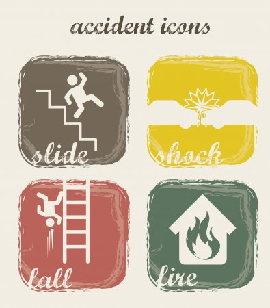 slippery floor: accident icons over beige background. vector illustration