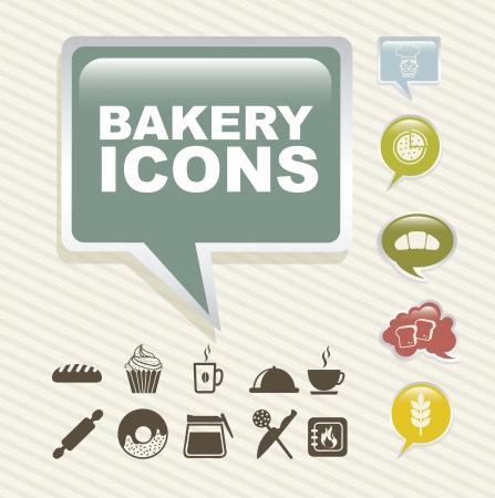kneading: Icone da forno su sfondo vintage. illustrazione vettoriale Vettoriali