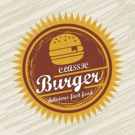 american cuisine: burger label over grunge background. vector illustration Illustration