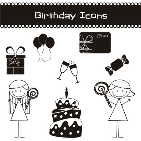 birhday icons over white background vector illustration Stock Vector - 16477033